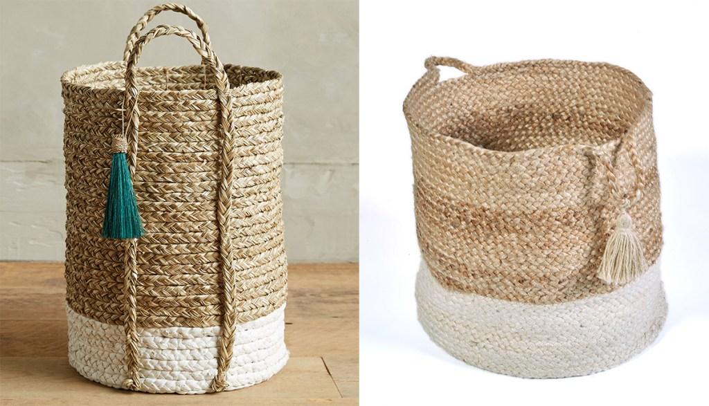 anthropologie wicker basket next to walmart jute basket