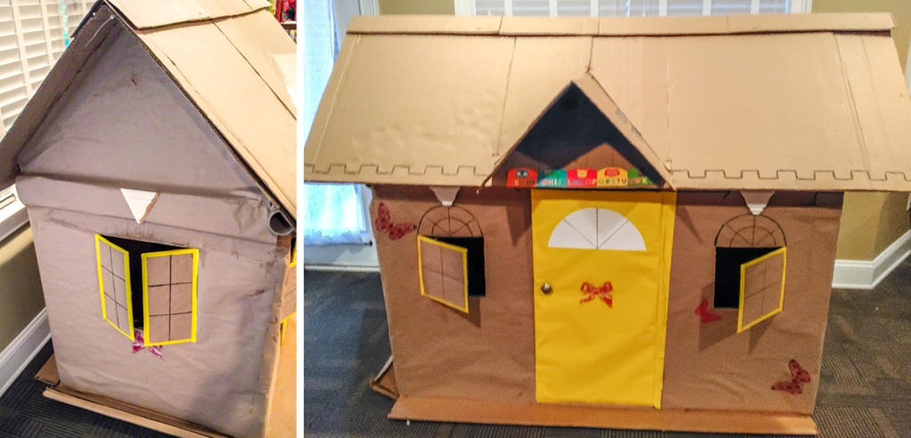 decorated cardboard playhouse from old freezer corrugated box