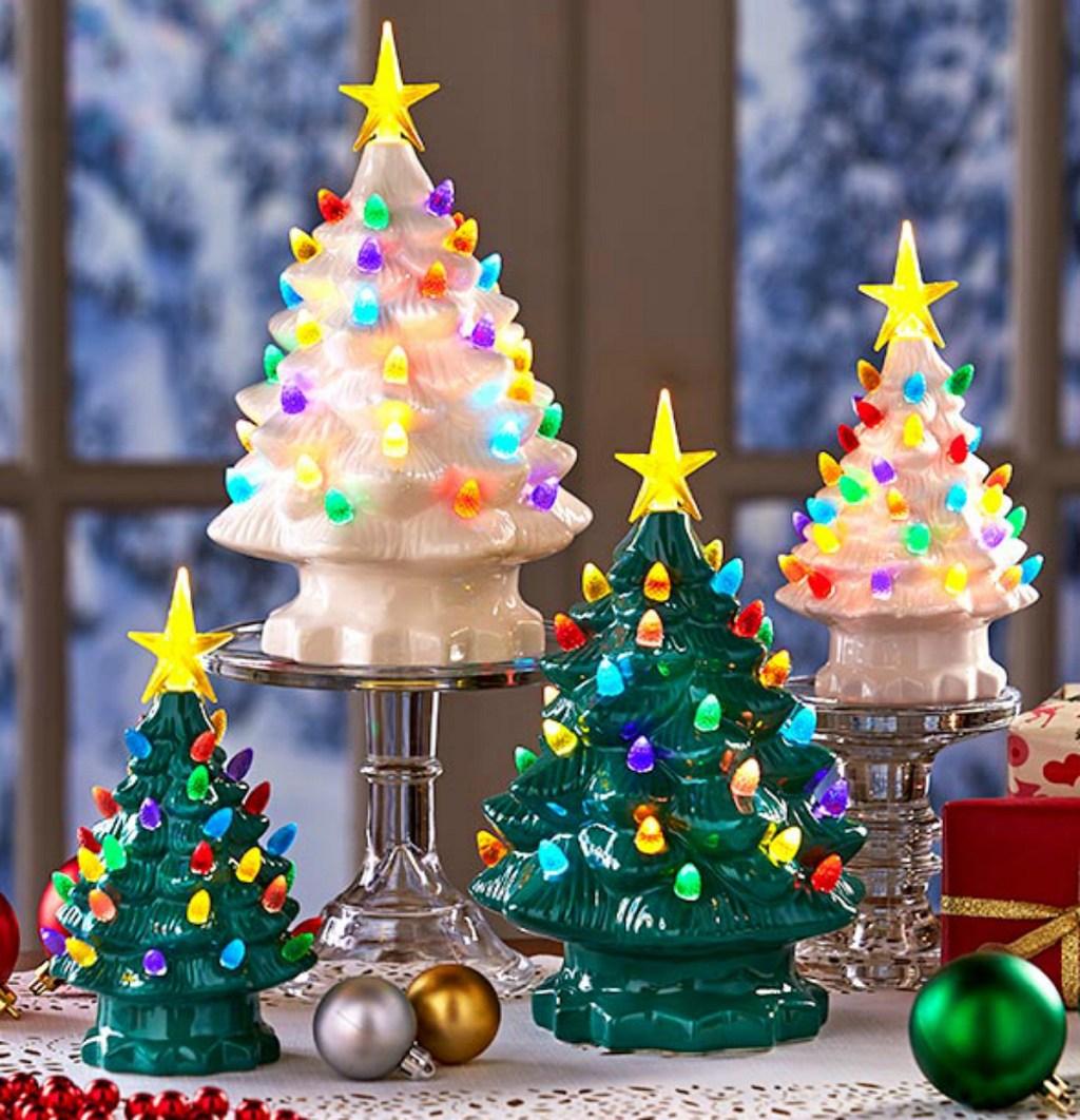 ceramic pre-lit christmas trees