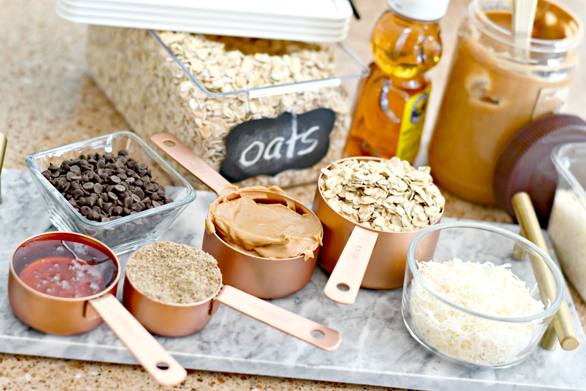 Oatmeal Cookie Dough Energy Bites – ingredients on the counter