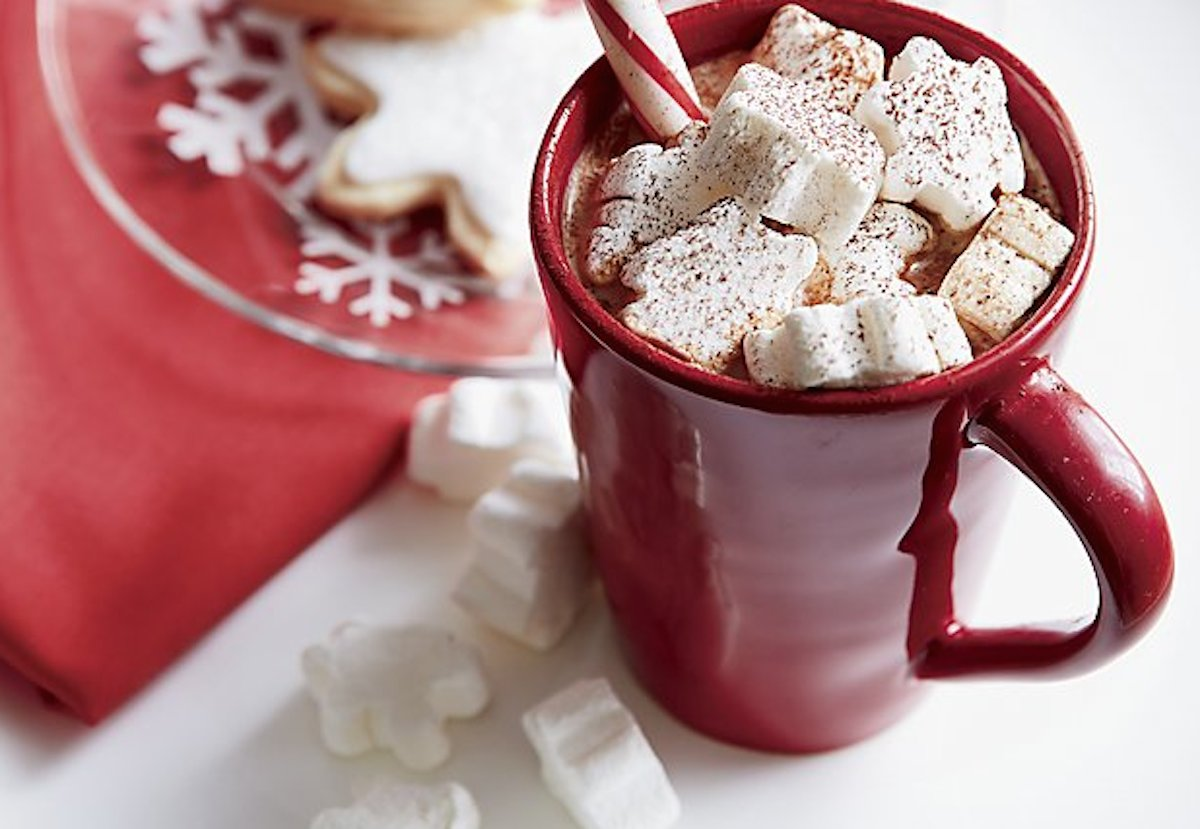 ultimate gift guide ideas under 25 — crate and barrel marshmallows in a mug of cocoa