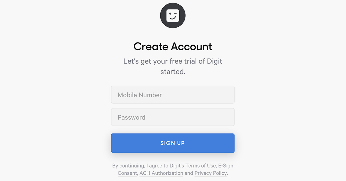 digit budgeting app save money — account sign up page on website