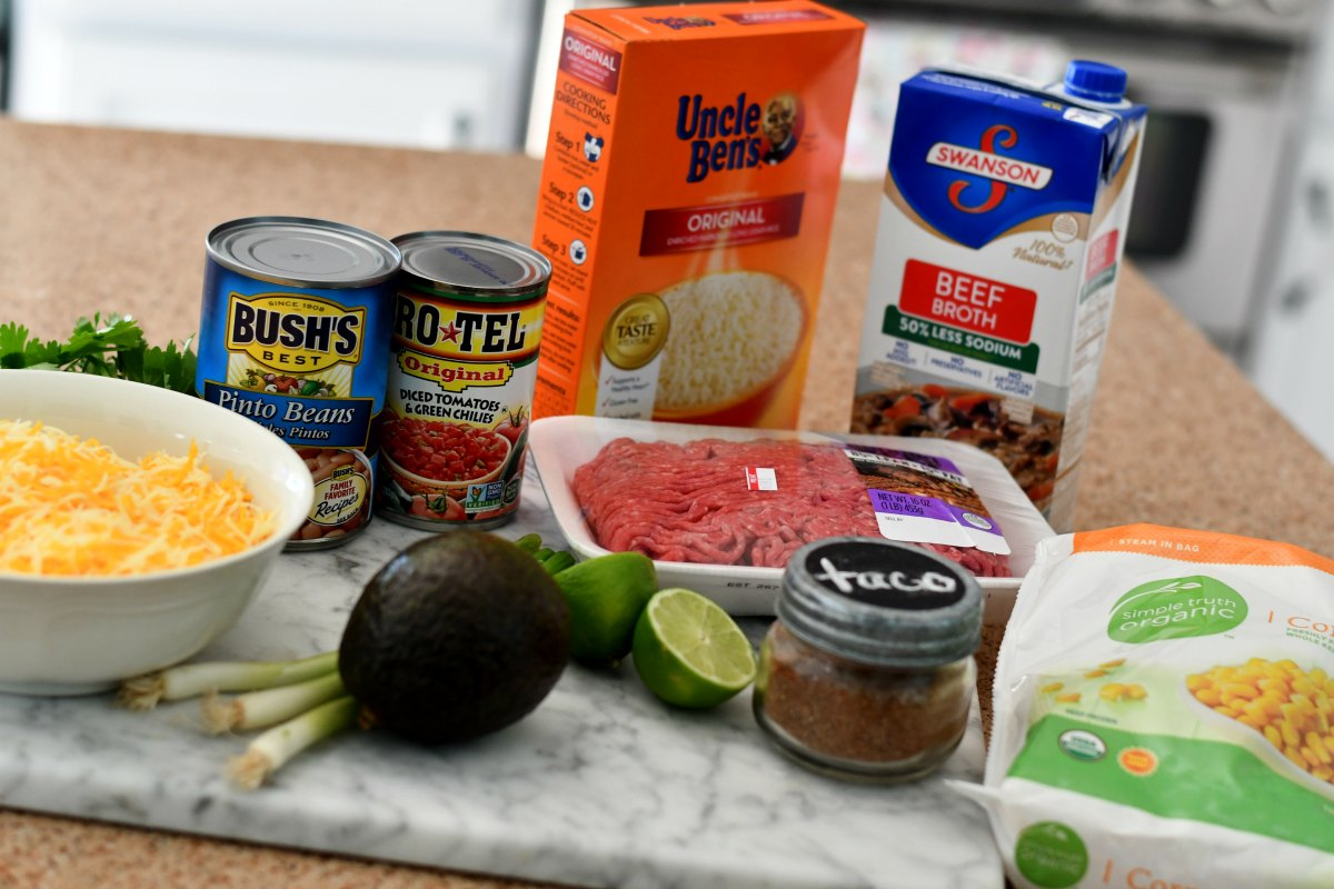 taco rice beans skillet casserole – ingredients on the counter