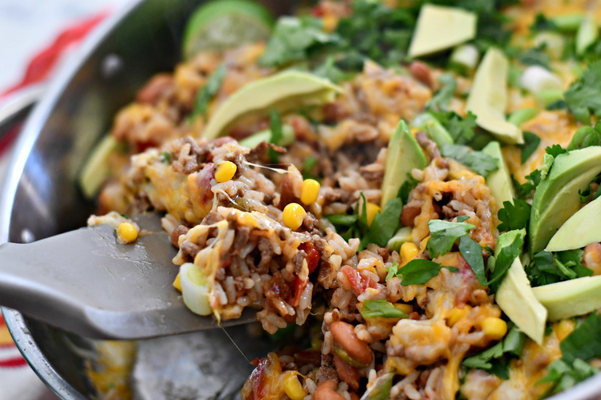 taco rice beans skillet casserole – serving up the cooked casserole