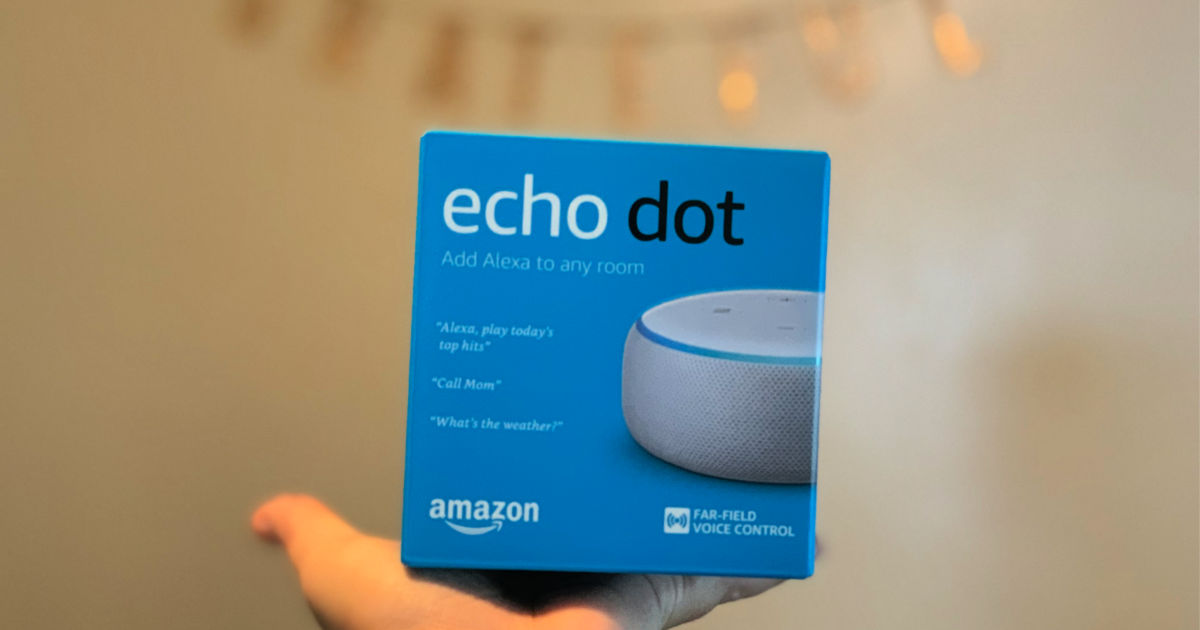 hand holding echo dot 3rd generation box