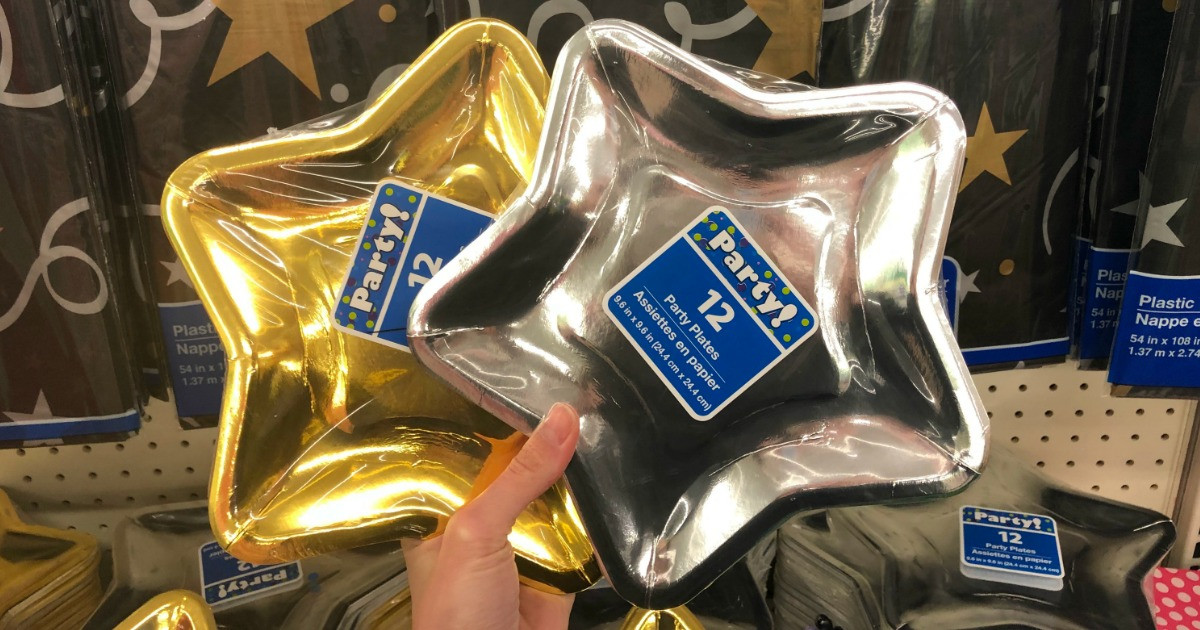 gold and silver star plates dollar tree