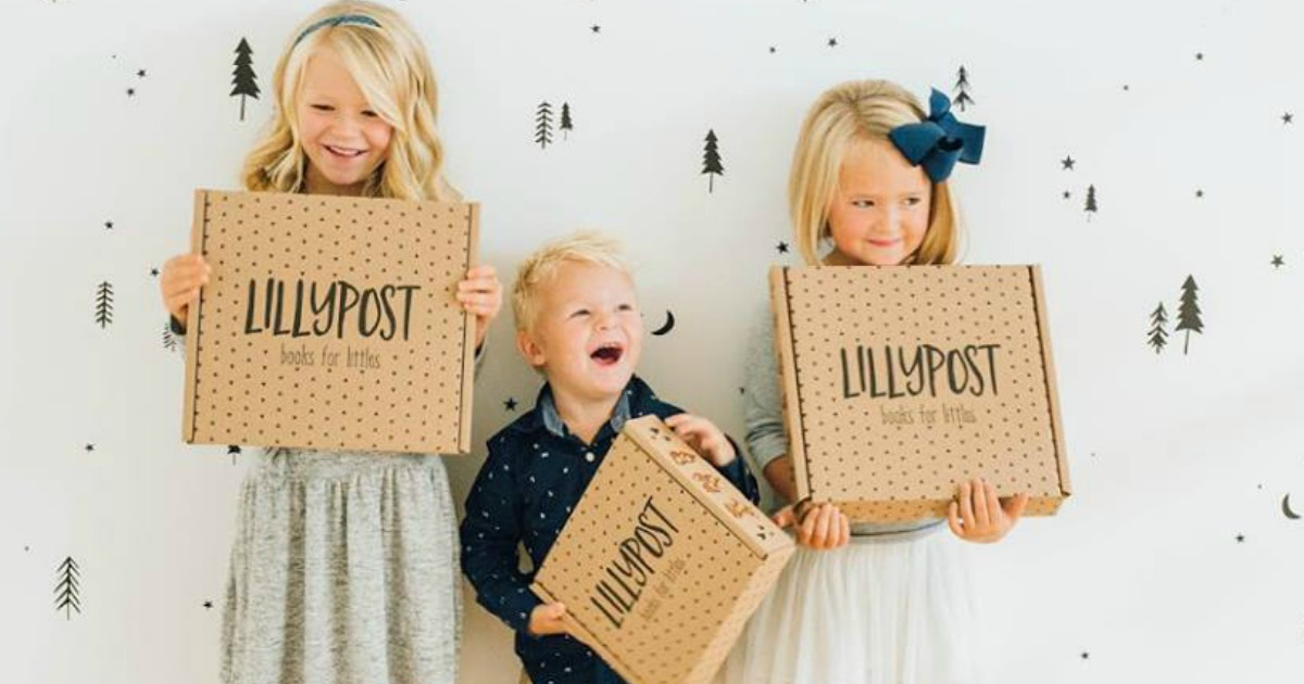 lillypost kids books subscription box promo code deal – kids holding their lillypost boxes