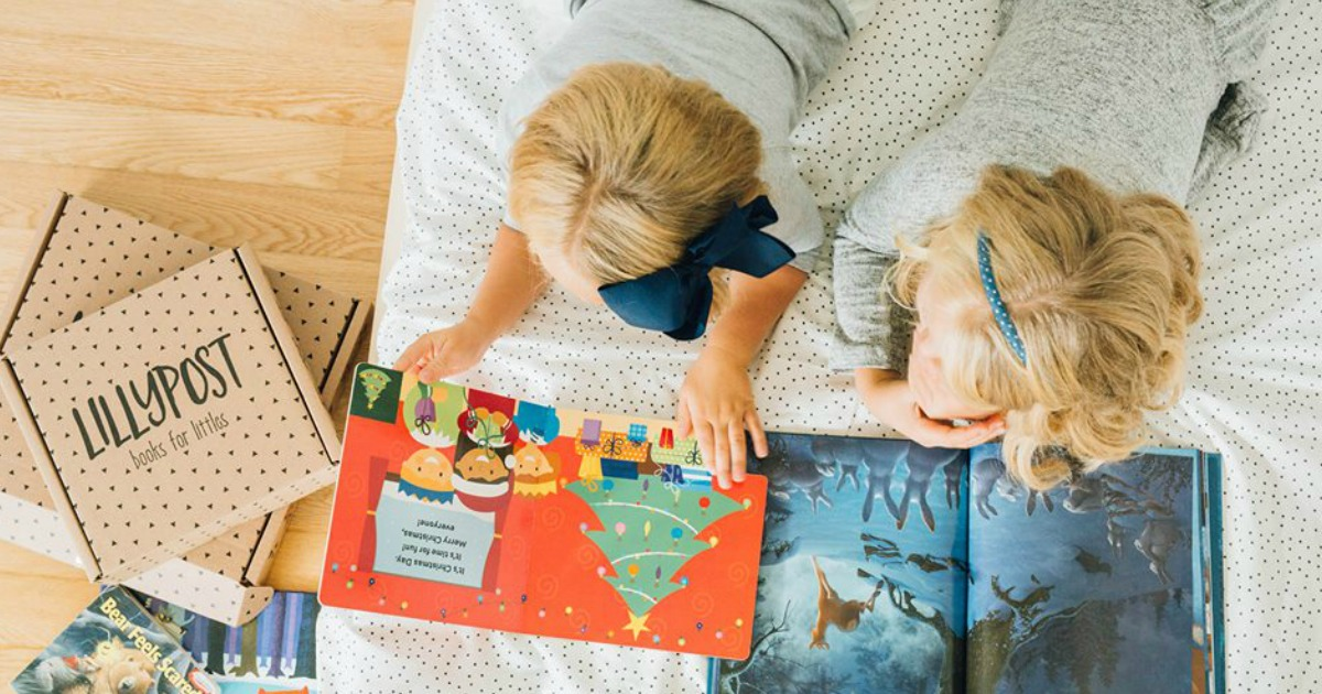 lillypost kids books subscription box promo code deal – kids looking at books together