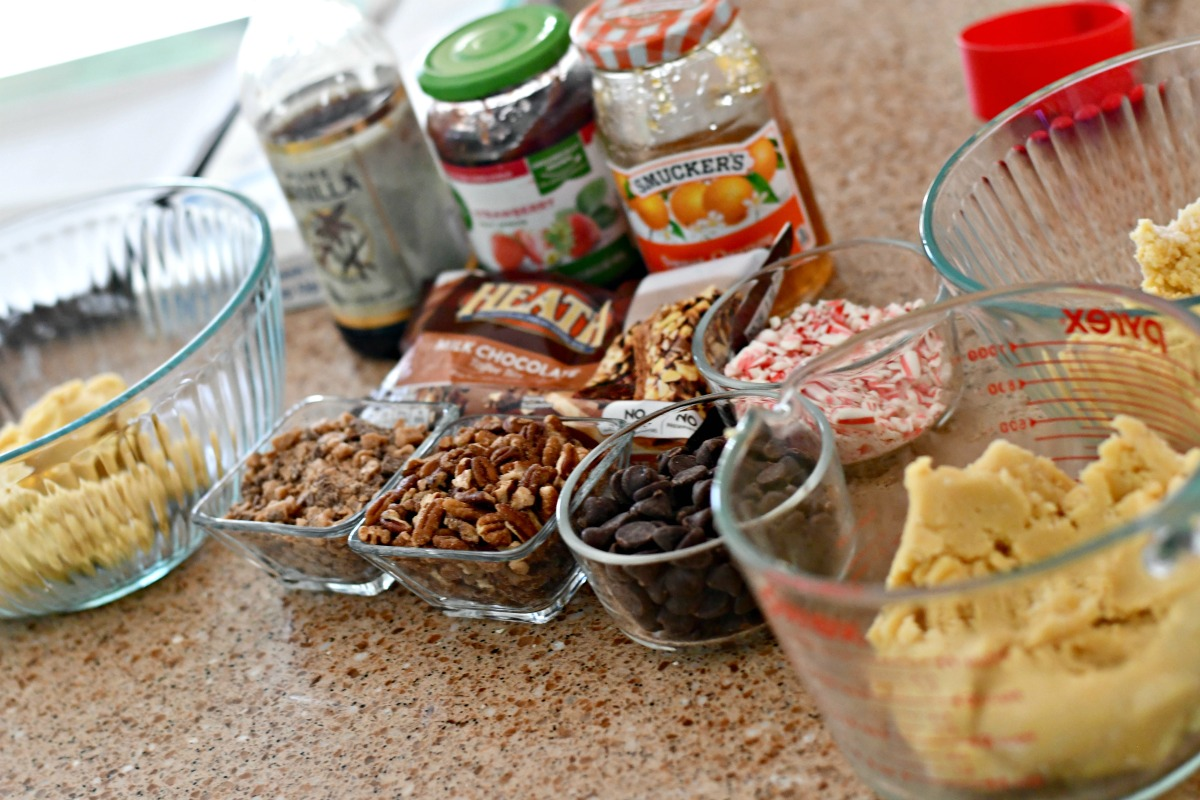 cookie dough christmas cookies recipe – ingredients on a counter