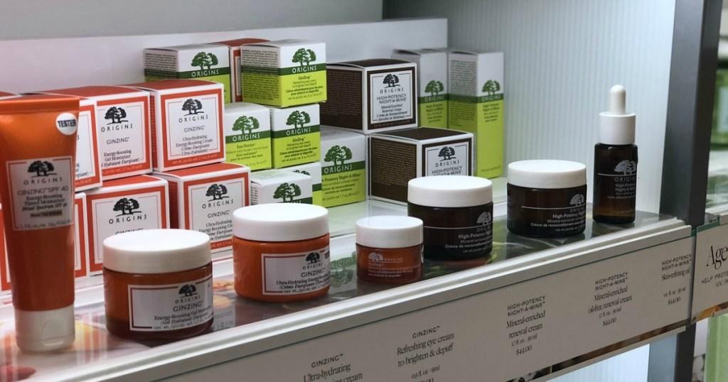 shelf of Origins products