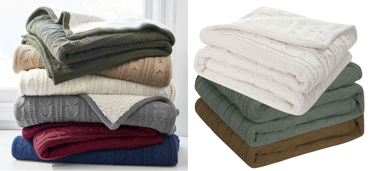 pottery barn and walmart copycat items cable knit throw blankets