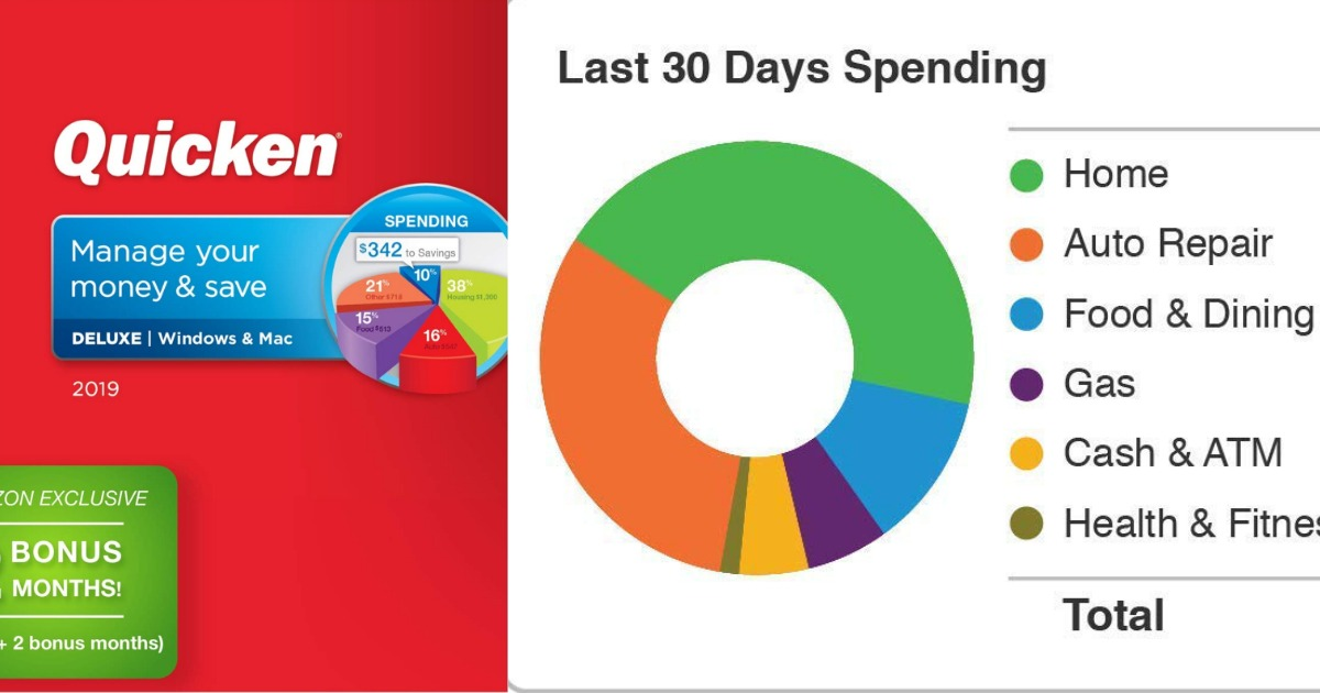 1-Year Quicken Deluxe 2019 Software + 2 Bonus Months Only