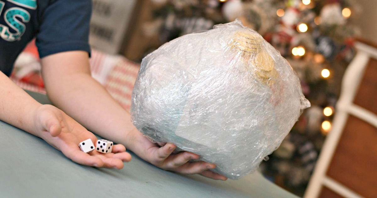 Saran wrap game holiday party game – The ball and a pair of dice for the game