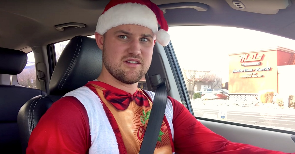 stetson deal shopping kohls video – stetson wearing santa onesie suit in the car
