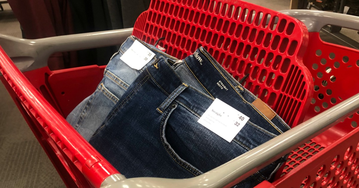 jeans in a Target cart