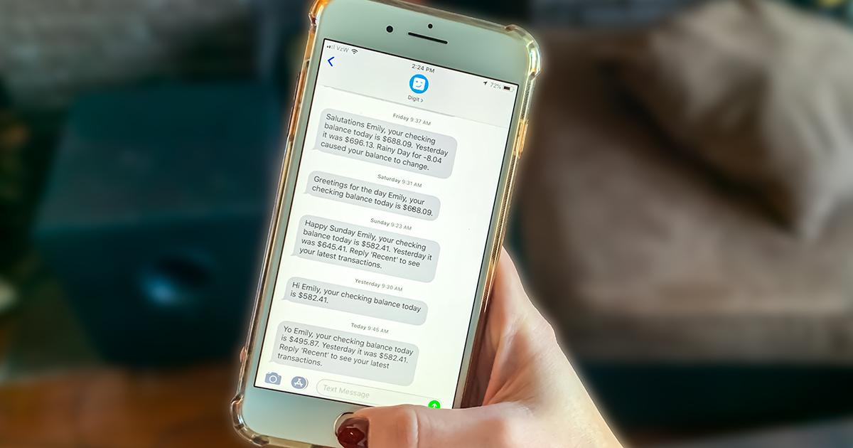 digit budgeting app save money — digit app text messages about account balance