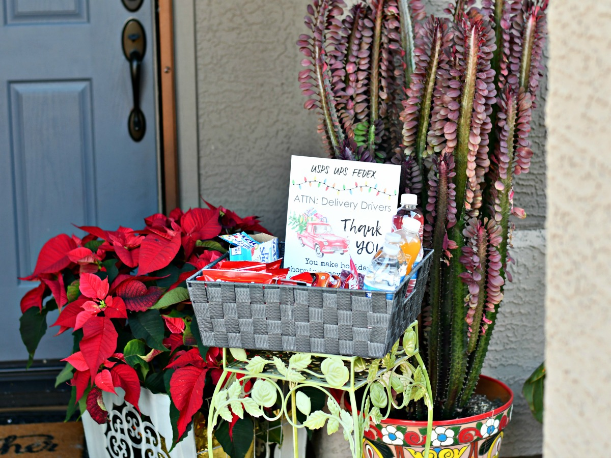 basket of snacks outside door for delivery drivers