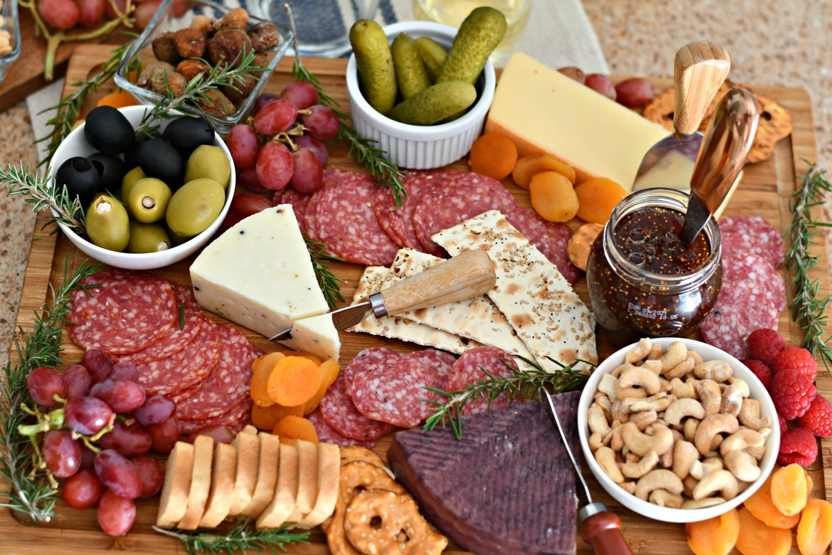 best easy charcuterie board, complete tray with serving pieces, cheese knives, and food