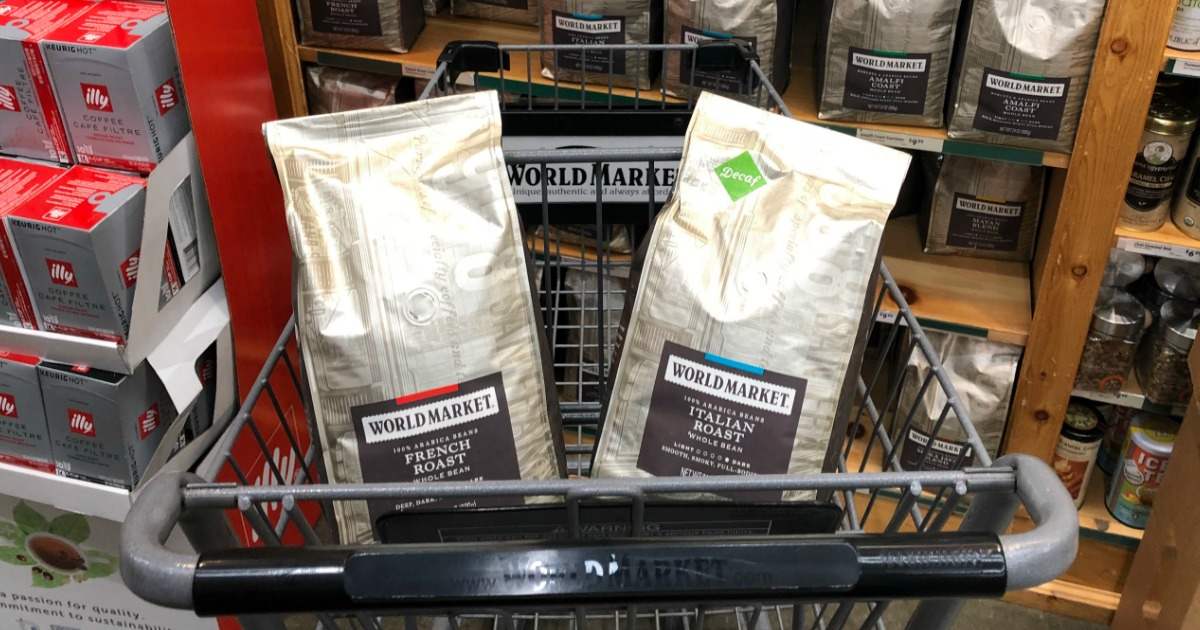 Bags of Cost Plus World Market in cart in front of coffee display