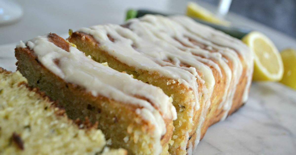 Hip2Keto lemon zucchini bread loaf recipe, sliced