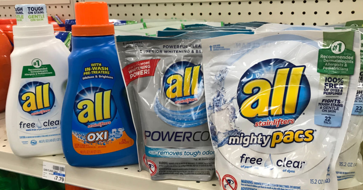 all laundry detergent on a shelf in a store