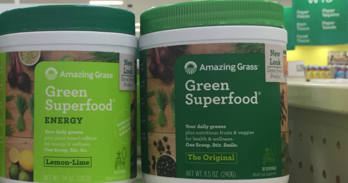 amazing grass containers of original and lemon lime flavored powders