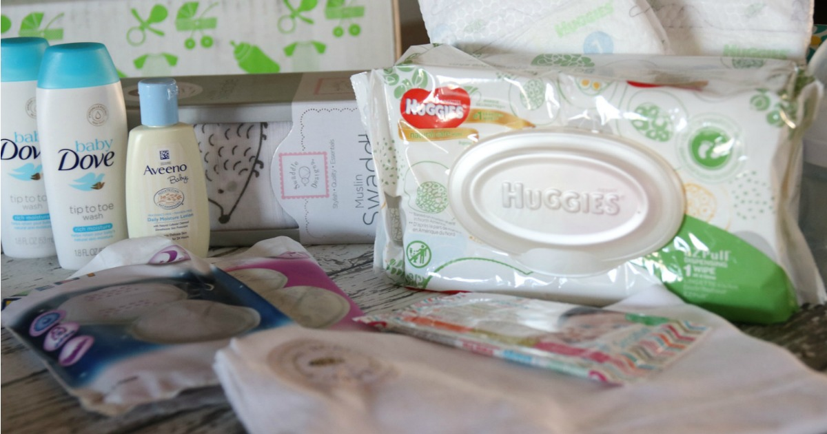 dove baby wash, aveeno baby lotion, huggies wipes, and other baby items