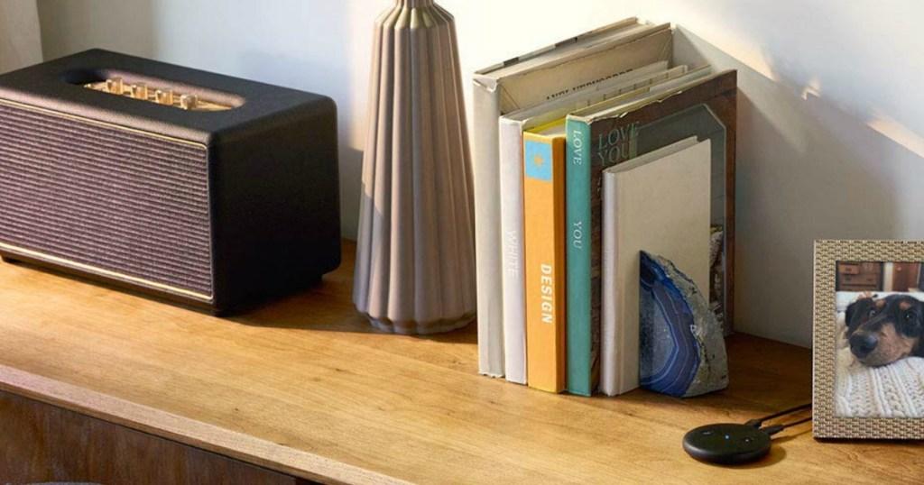 Amazon Echo Input on shelf by books and speaker