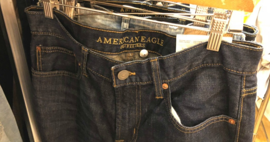 American Eagle Jeans hanging in store