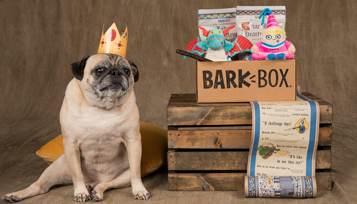 BarkBox subscription box next to a dog wearing a crown