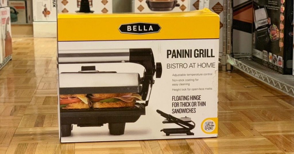 bella panini grill box on floor of store