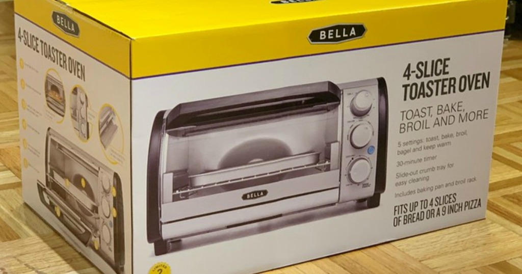 bella 4-slice toaster oven box on floor of store