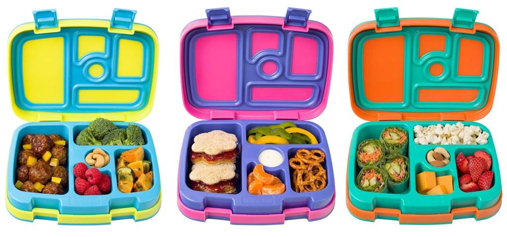yellow/blue; pink/purple, orange/green bentgo boxes
