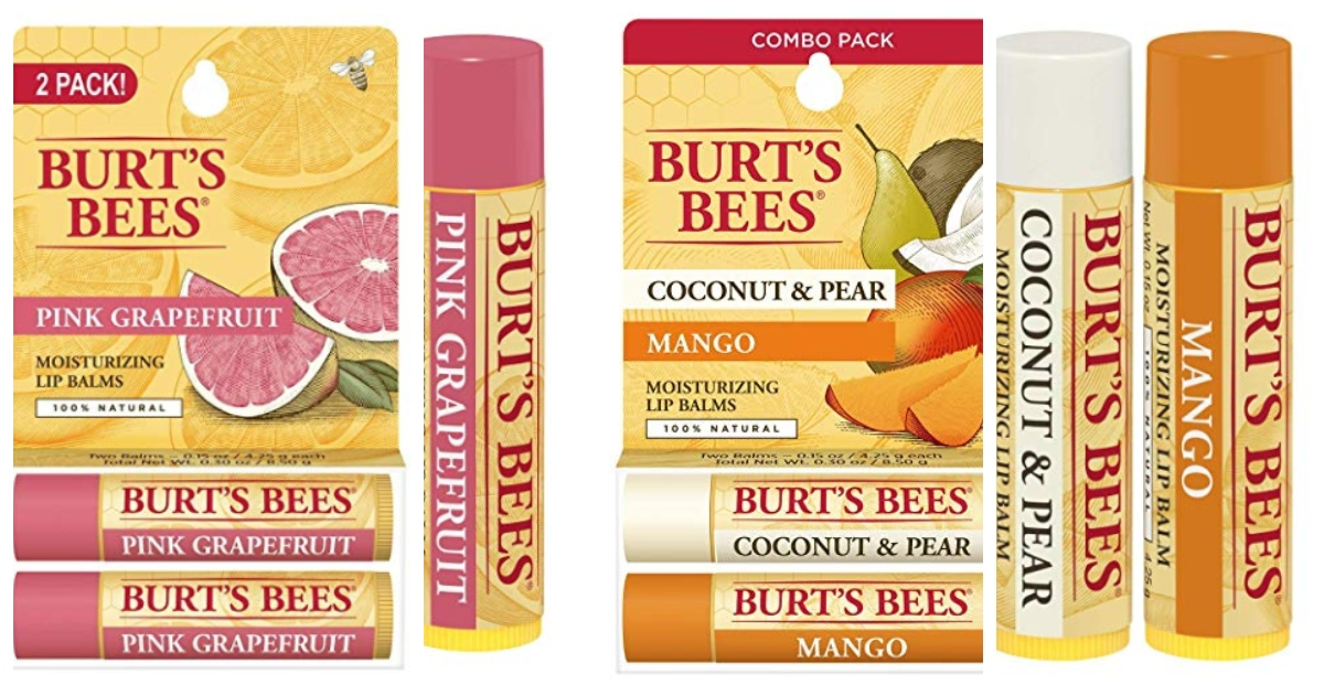 two, 2-packs of Burt's bees lip balm with a single lip balm next to each variety. Pink Grapefruit is on the left and Coconut & Pear / Mango is on the right.