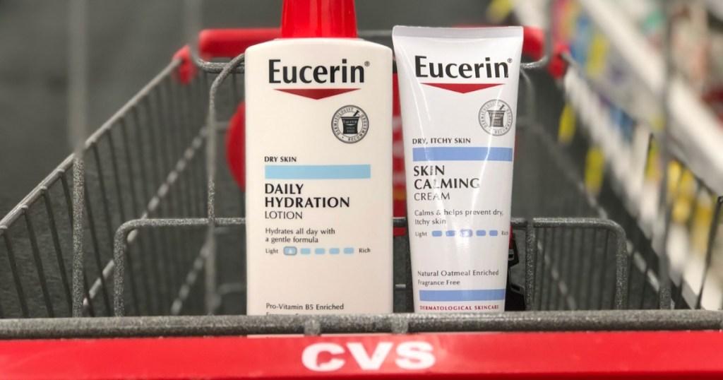 two bottles of eucerin in cvs cart