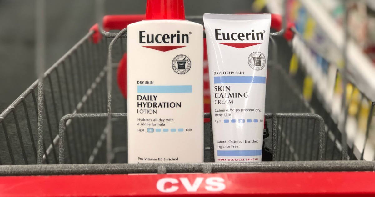 two bottles of eucerin in cvs cart