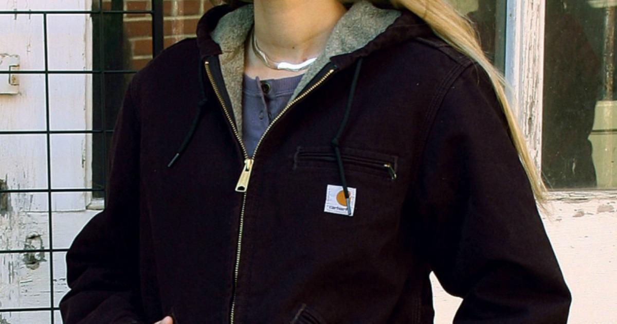 woman wearing Carhartt jacket