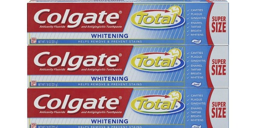 Colgate Total Whitening Toothpaste 3-Pack Only $5.68 Shipped (Just $1.89 Per HUGE Tube)