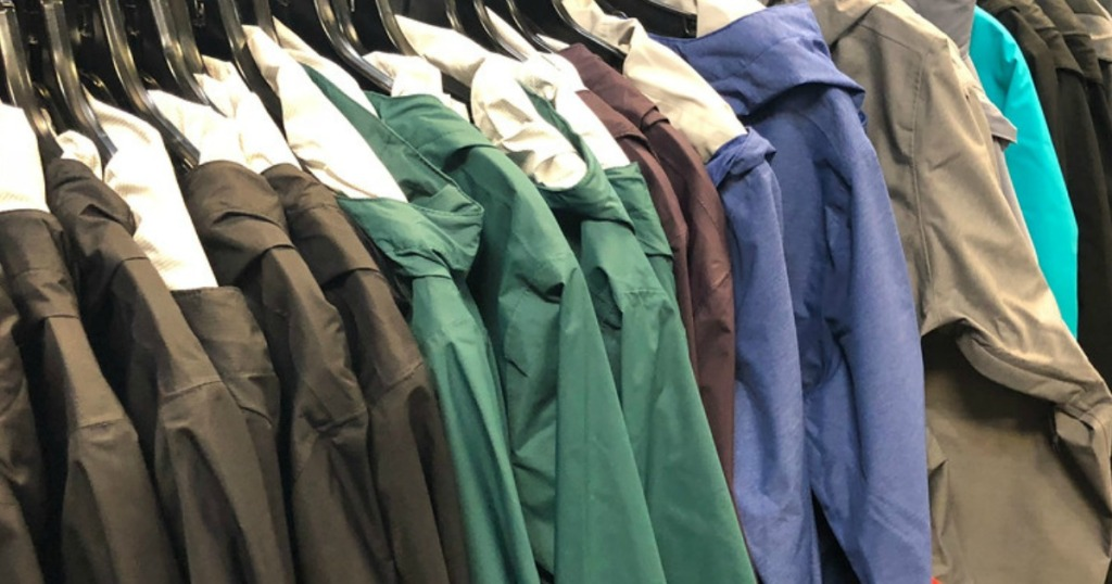 Columbia brand rain jackets on rack in-store