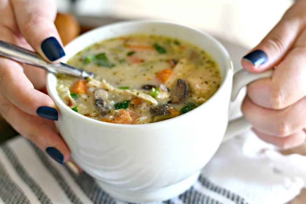 crockpot chicken wild rice soup in a bowl