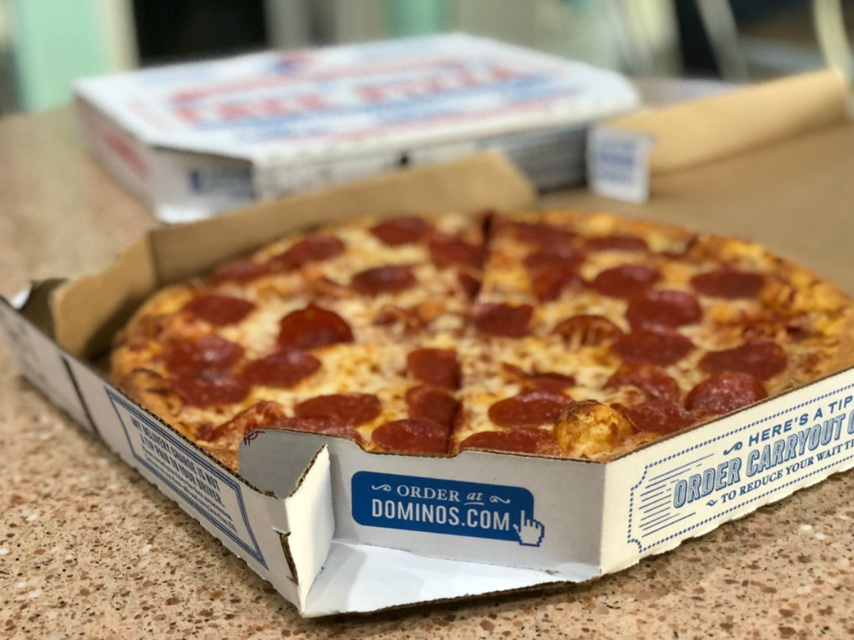 Domino's Pepperoni Pizza on kitchen counter
