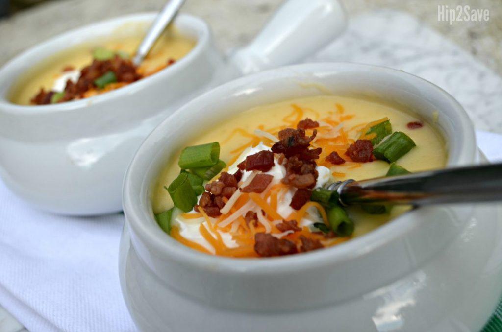 instant pot baked potato soup in crock bowls