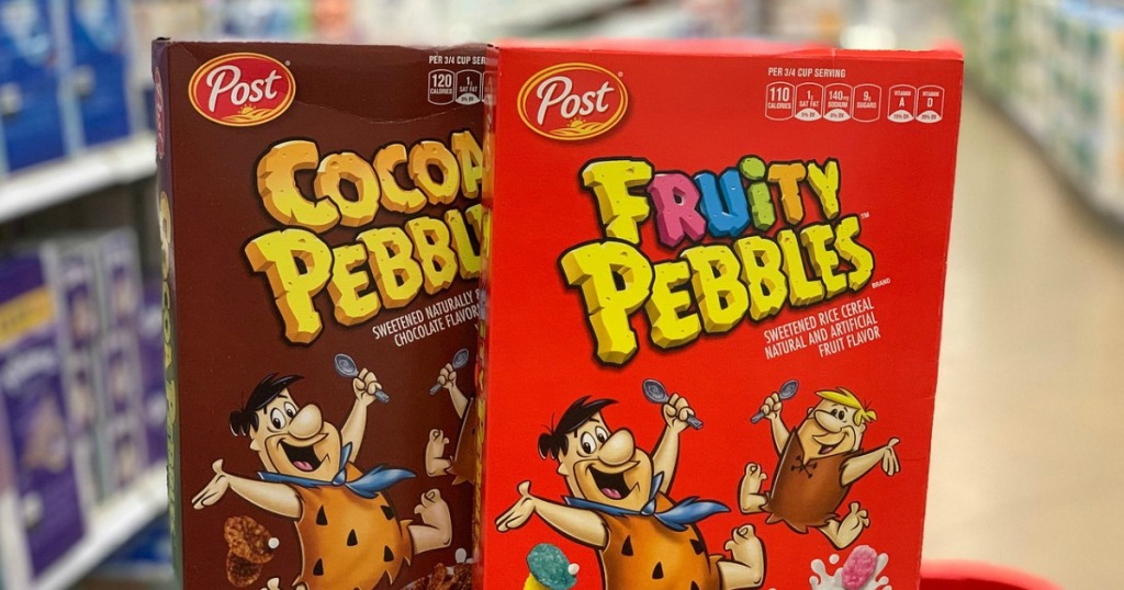 two boxes of Post Fruit Pebbles cereal