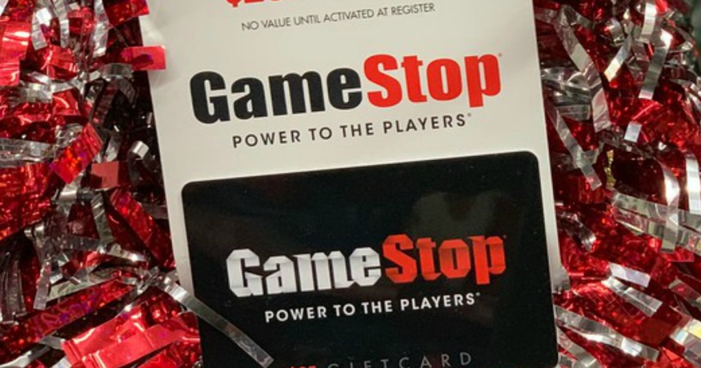 Gamestop gift card with ribbons around it