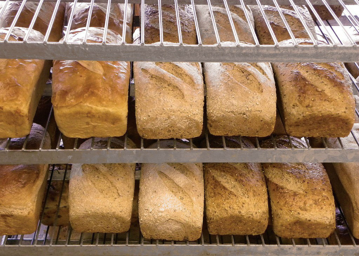 Great Harvest Bread Co bread on racks