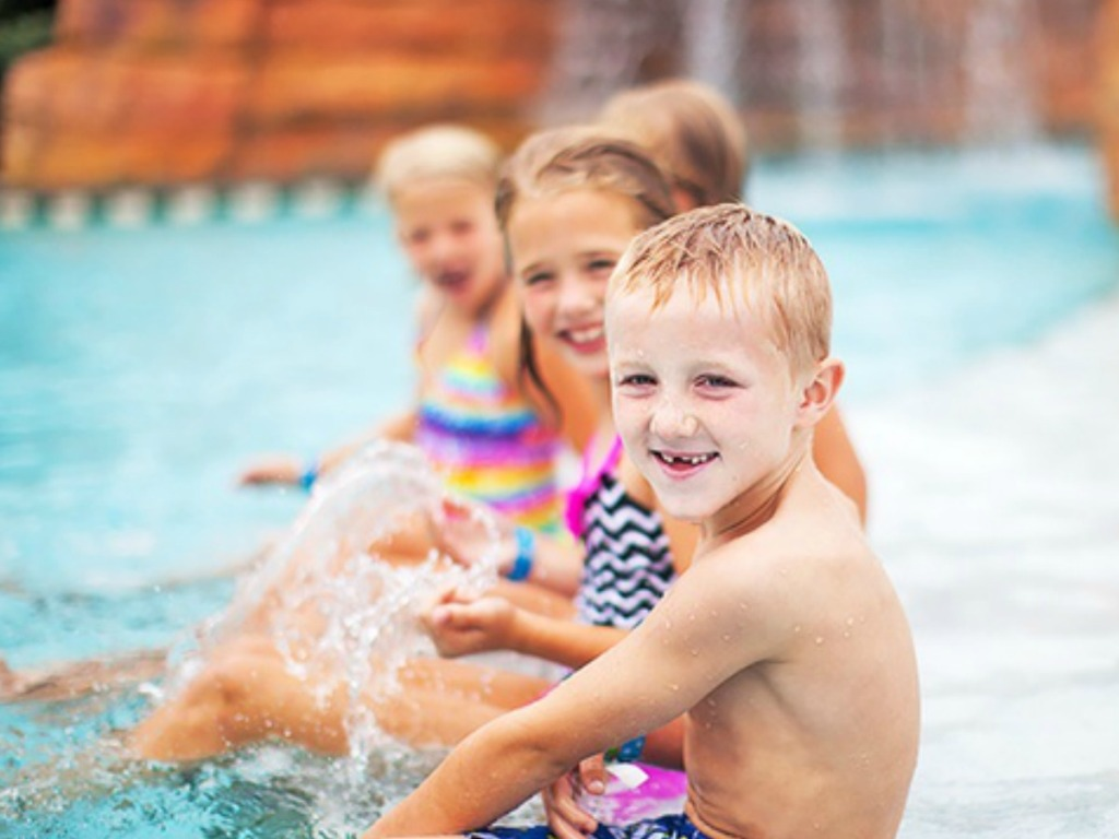 three children at the Great Wolf Lodge water park