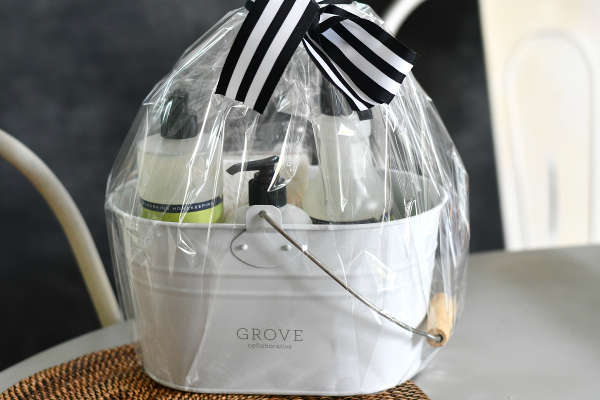 Grove gift basket in clear cellophane wrap