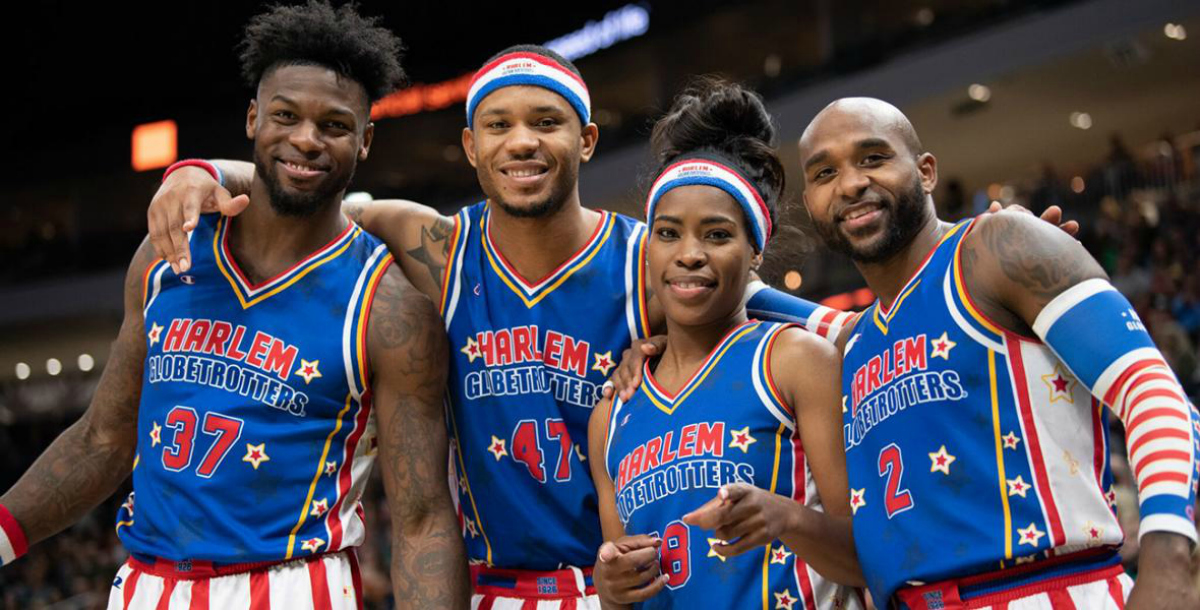 Harlem Globetrotters smiling at the camera