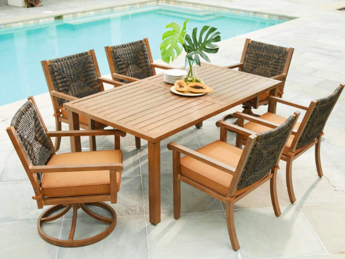Daksh outdoor furniture home depot martha stewart set includes dining table dining chairs and sunbrella weatherresistant cushions furniture design over 50