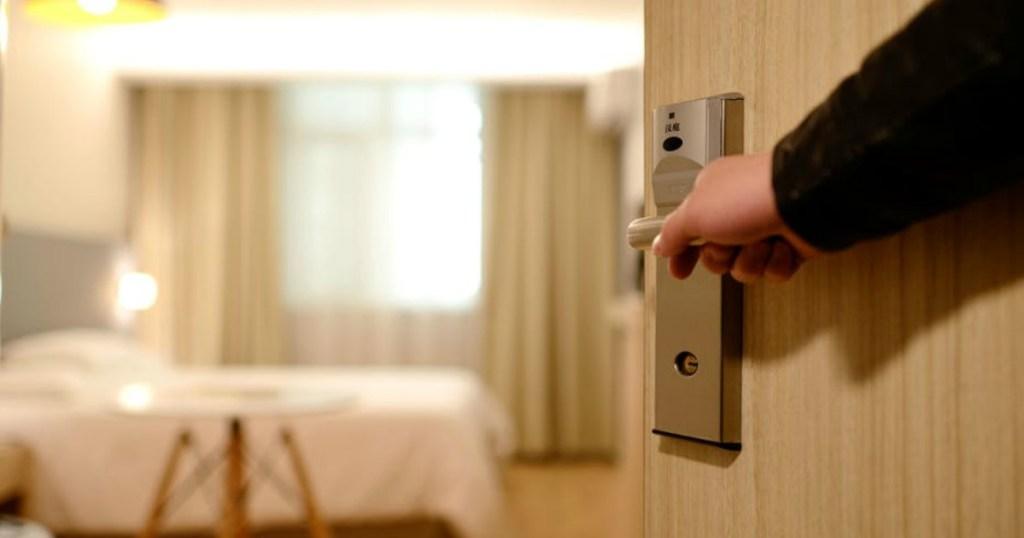 opening hotel room door